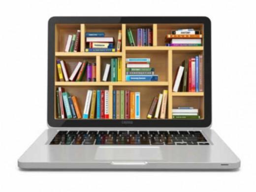 boekenrek op scherm van laptop