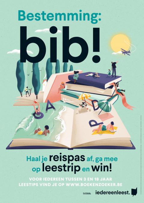 Affiche van de zomerleesactie Bestemming Bib! waar een opengeslagen boek een strand voorstelt