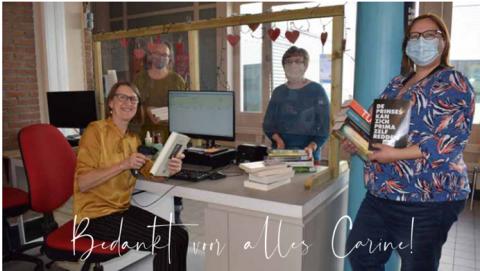 Het bibteam met bibliothecaris Carine